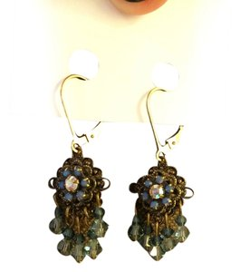 14K Gold Filled Chandelier Earrings with Blue Stones