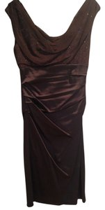 Suzi Chin Satin V-neck Evening Bodycon Dress