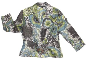 Lafayette 148 New York Flower Print Linen Blend Size 6 Top