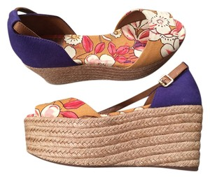 Tory Burch Purple & Mostar and pink flowers. Wedges