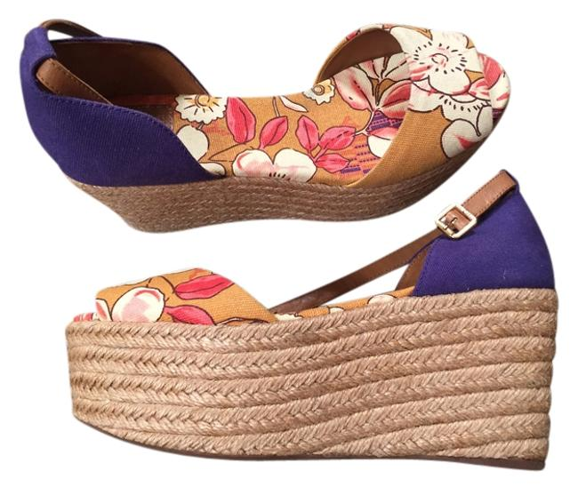 Item - Purple & Mostar and Pink Flowers. Like New Wedges Size US 9 Regular (M, B)