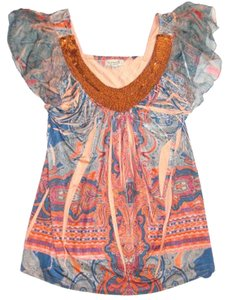 One World Nwt Paisley Print Beaded Neckline Size Large Top Orange