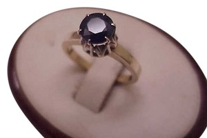 Estate Genuine Blue 1.60carat Solitaire Sapphire 12k Yellow Gold Ring