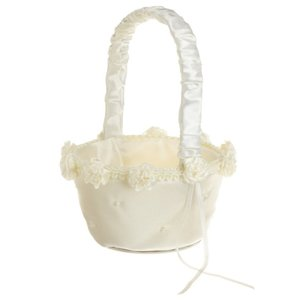 Elegant Ivory Wedding Flower Basket Any Occasion Flower Basket For Flower Girl Anniversary Or Shower Celebration Flower