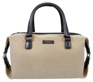 Gucci Purse Boston Cnavas Beige Satchel in Khaki