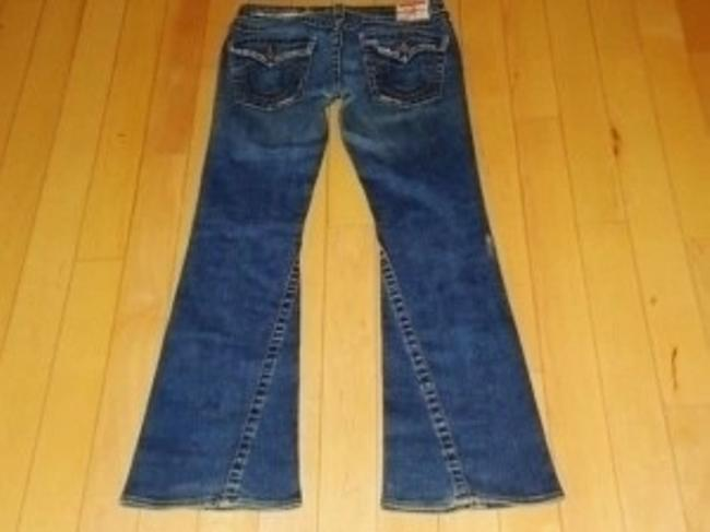 True Religion Stretch Low Rise In The Bridget Stone And Tint Style Section #503. Distressed Medium Boot Cut Jeans-Distressed