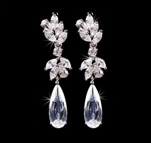 Bridal Jewelry Wedding Earrings Crystal Clear Cubic Zirconia Posts Teardrop Wedding Jewelry Bridal Earrings