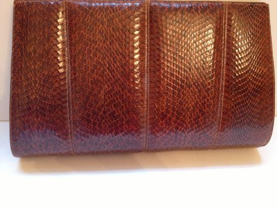 Unknown Snakeskin Vintage Carmel Clutch