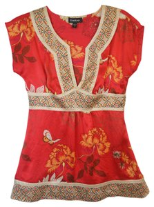 bebe Silk Chinese Fitted Top Red