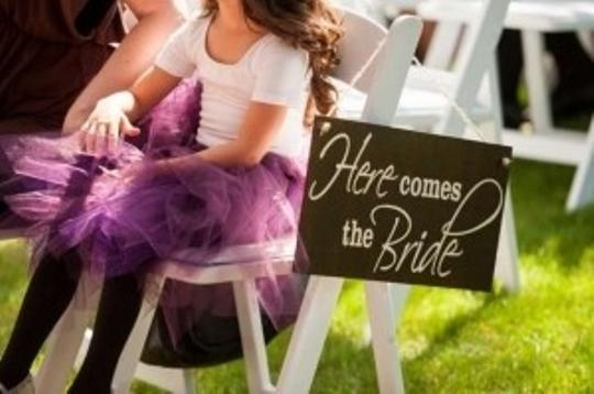 Here Comes The Bride Wood Sign Banner Flower Girl Basket
