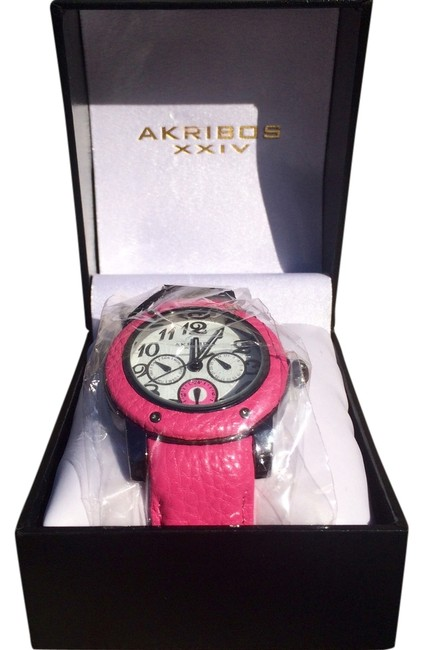 Item - Pink White Silver Women's Ak560rd Quartz Multi-function Genuine Leather Watch