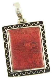Island Silversmith Island Silversmith Elegant Genuine Red Coral 925 Silver Box Pendant 0301S *FREE SHIPPING*