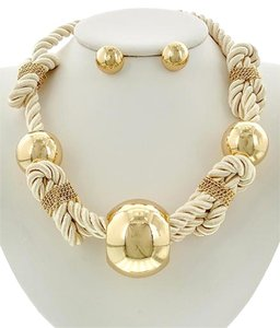Fabulous Furs Gold & Ivory Rope Necklace and Earrings