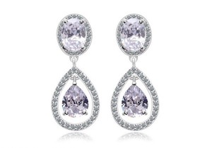 Crystal Clear Cubic Zirconia Posts Teardrop Earrings