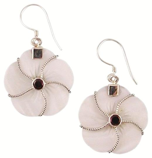 Island Silversmith Island Silversmith Tropical Mother of Pearl 925 Sterling Silver Earrings w Garnet 0301N *FREE SHIPPING*