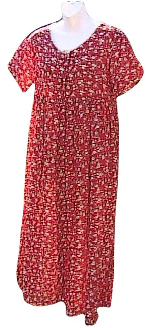 Item - Floral Short Sleeve Chiffon Summer Red Long Casual Maxi Dress Size 10 (M)