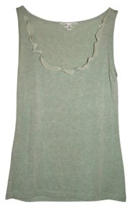Banana Republic Green Scalloped Satin Trim Top Jade green