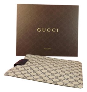 Gucci BLUE GRAY GG CANVAS LEATHER GUCCISSIMA CASE iPAD 1,2,3 GIFT BOX $320