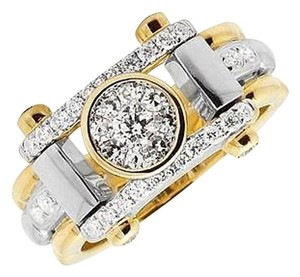10k Two Tone Gold Mens Vs2 Cluster Genuine Diamond Statement Pinky Ring 1ct