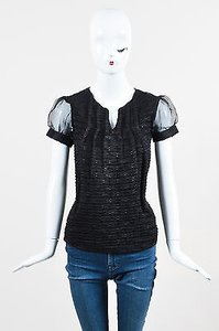 Cynthia Rowley Textured Top Black