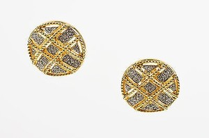 Vintage Daniel De Fasson Gold Tone Rhinestone Crosshatch Clip On Earrings