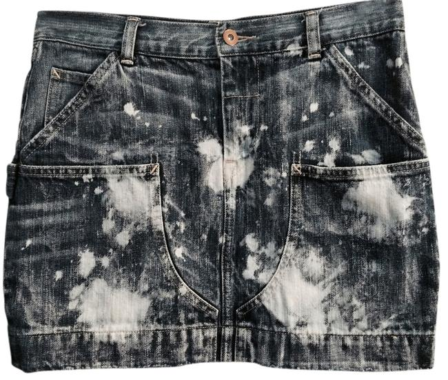 Ralph Lauren Distressed Bleach Out Mini Skirt Denim