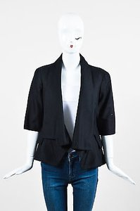 Alexander McQueen Alexander Mcqueen Black Cotton Draped Shawl Collar Ss Blazer Jacket