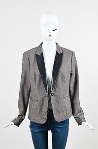 Hugo Boss Hugo Boss Tan Black Houndstooth Faux Leather Lapel Wool Blend Blazer