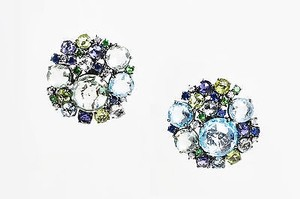 A Furst 18k Gold Blue Topaz Sapphire Diamond Bouquet Post Earrings