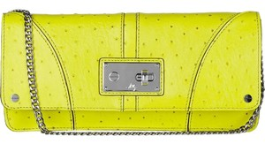 MILLY Ostrich Leather Green Clutch