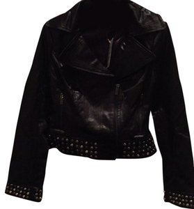 bebe Cropped Embellished Motorcycle Jacket