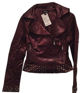 bebe Studded Cropped Embellished Motorcycle Jacket