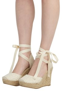 Modcloth Spring Summer Espadrille Lace Ivory/white Wedges