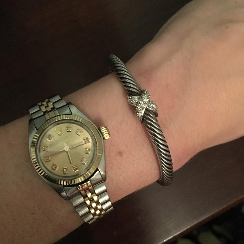 David Yurman Silver Whitr Gold Diamonds Clic Cable X Collection With 5mm Bracelet Tradesy