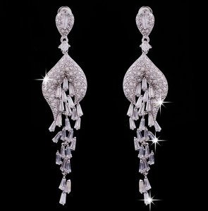 Elegant Design! Cubic Zircon Bridal Wedding Drop Earrings