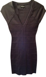 Express Gray Bandage V-neck Dress