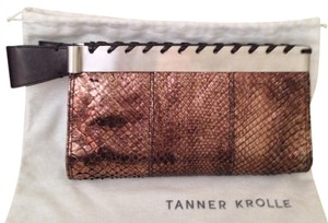 Tanner Krolle Python Leather Snakeskin Metallic Bronze Clutch
