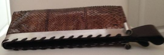 Tanner Krolle Python Purse Leather Snakeskin Metallic Bronze Clutch