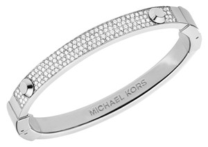 Michael Kors Set-Silver Tone Pave Hinge Bracelet & Logo Crystal Stud Earrings