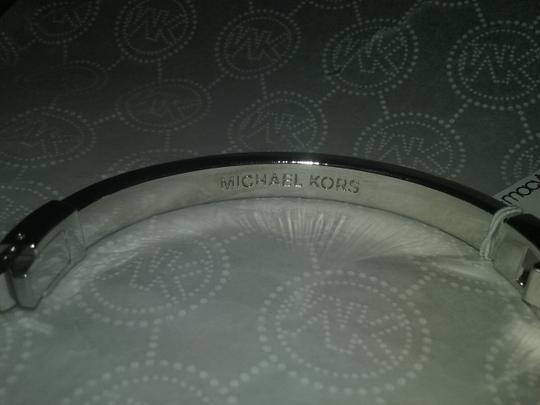 Michael Kors 2 piece SET-Silver Tone Pave Hinge Bracelet & Logo Crystal Earrings