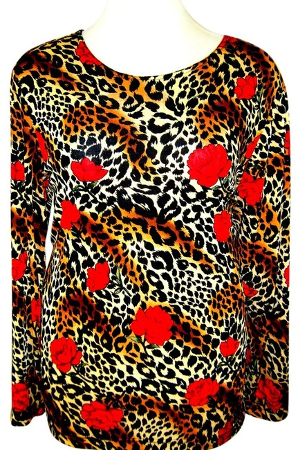 J SUZETTE Top ANIMAL PRINT W ROSES