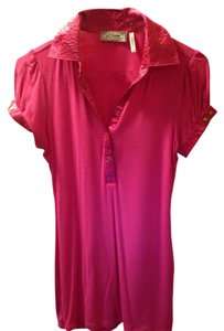 Guess Gold Studded Cotton Silk Top Pink