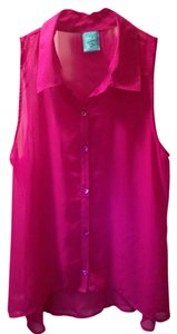 H.I.P. Light Summer Button Hi Lo Button Down Shirt Purple
