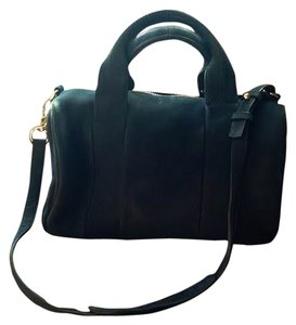Alexander Wang Leather Gold Hardware Satchel in Navy
