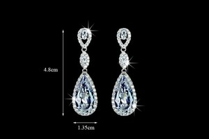 Beautiful Teardrop Bridal Earrings - Wedding Jewelry Dangle Earrings Diamond Look Special Occassion Teardrop Chandelier