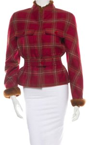 Valentino Plaid Fur Cashmere Holidays Red Jacket