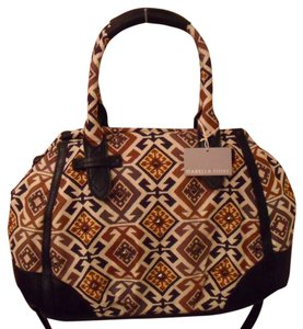 Isabella Fiore Ines Tiled Symmetry Black Cotton Handbag Nwt New Satchel in Creams