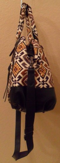 Isabella Fiore Ines Tiled Symmetry Black Cotton Handbag New Satchel in Creams