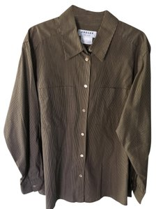 Jaeger Cotton Blouse Button Down Shirt Brown/Black