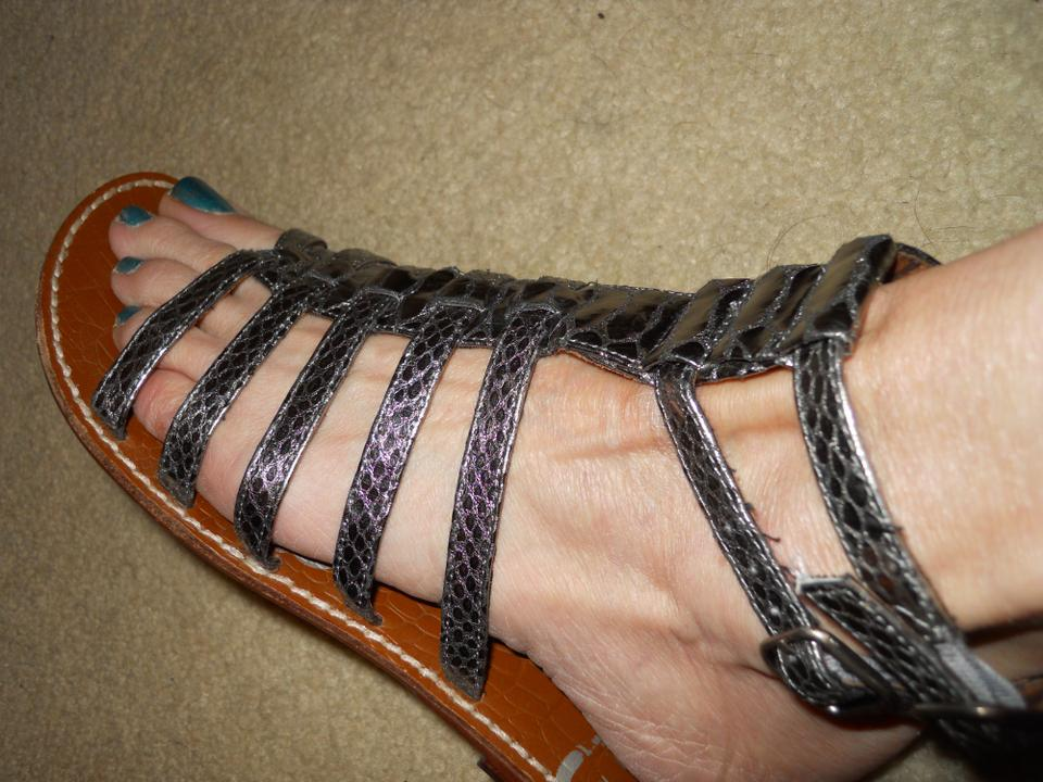 00306f1dee0e92 Sam Edelman Leather Snakeskin Strappy silver pewter Sandals Image 11.  123456789101112